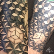 Fresh / 2 years healed, geo-forms